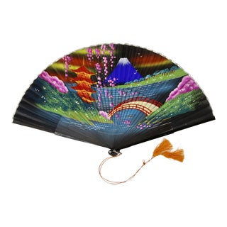 Hand-Painted Silk Asian Folding Fan For Sale