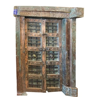Indian Haveli Antique Chakra Earthing Teak Wood Mid Century Doors For Sale