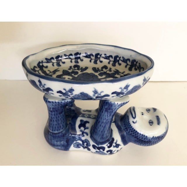 Vintage Blue and White Ceramic Monkey Dish For Sale - Image 4 of 8