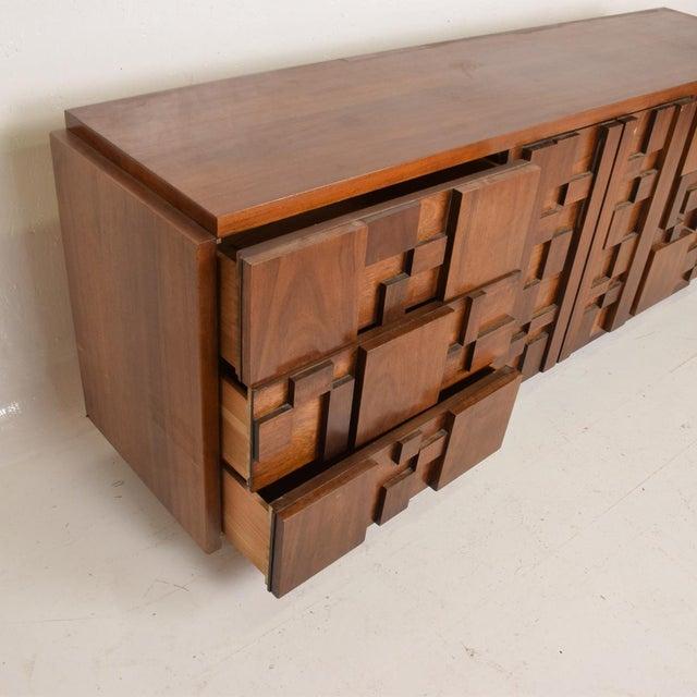 Lane  brutalist Mid-Century Modern Brutalist Patchwork Walnut Tiles Dresser by Lane For Sale - Image 4 of 10