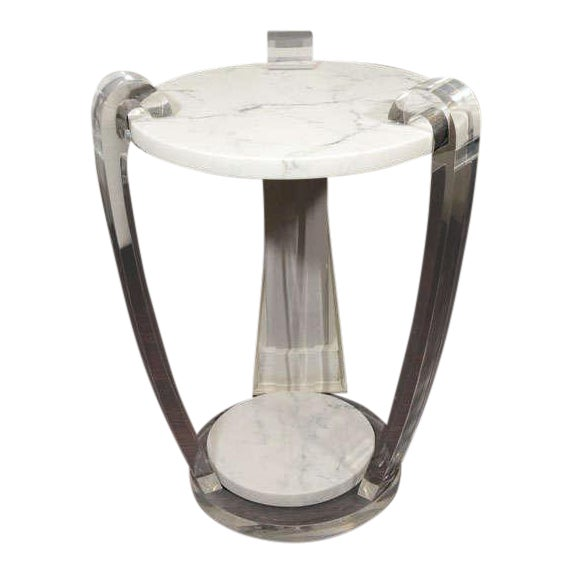 Pair of Lucite and Hoaned Marble Side Tables For Sale
