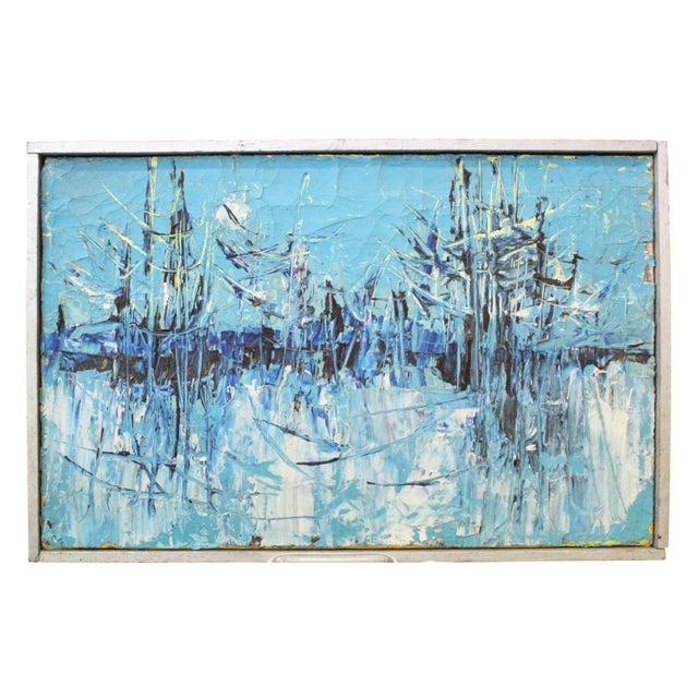 """Vintage Mid-Century """"Winter Woodlands"""" Abstract Oil Painting For Sale In New York - Image 6 of 6"""