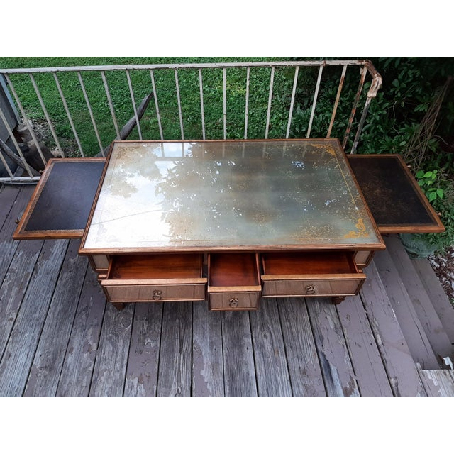 French Theodore Alexander Eglomise Gilded Wood and Glass Coffee Table With 3 Drawers and 2 Leather Pull Outs For Sale - Image 3 of 13
