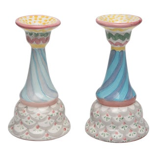 Mackenzie Childs Candle Holders - a Pair For Sale