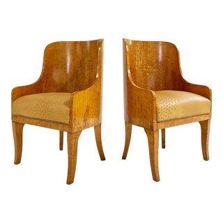 Biedermeier Gnarled Birch Armchairs in Ostrich Leather, Pair For Sale