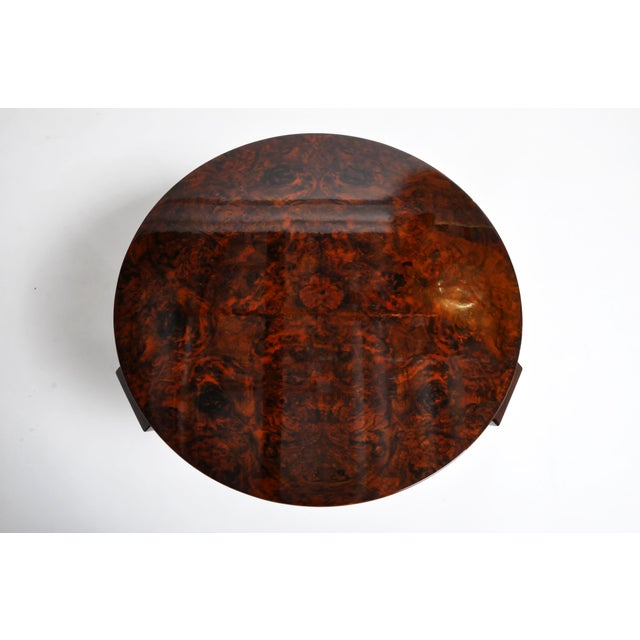 Black Hungarian Walnut Veneer Round Side Tables - a Pair For Sale - Image 8 of 13