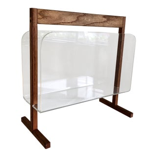 Wood & Lucite Magazine Rack