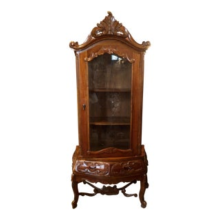 French Country Botanical Carved Wood Armoire Vitrine
