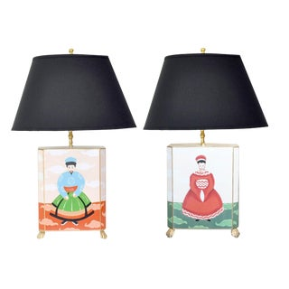 Dana Gibson Emperor & Empress Table Lamps - a Pair. Black Shade For Sale