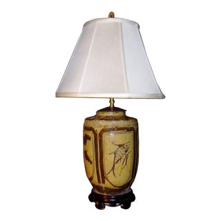 19th Century Chinese Jar Converted Into Lamp For Sale