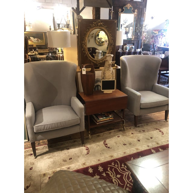 Flannel Upholstered Barrel Back Wing Chairs by Baker -A Pair For Sale - Image 11 of 13