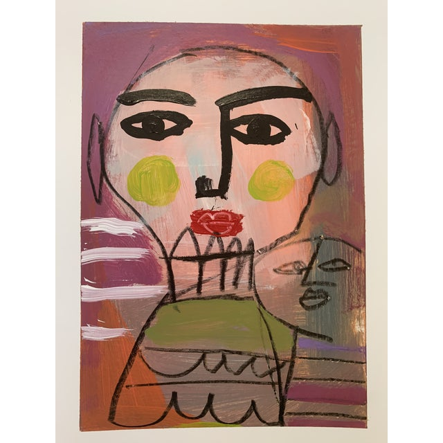 Original Abstract Contemporary Face Painting For Sale - Image 9 of 9