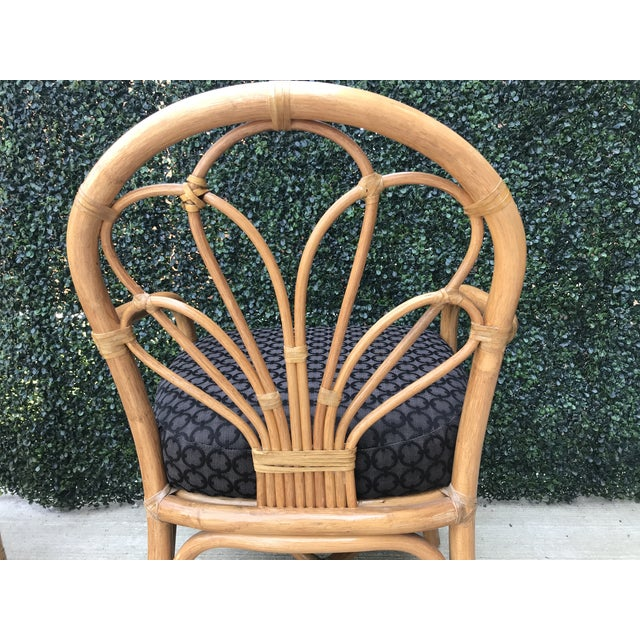 1970s 1970's Vintage Bent Bamboo Dining Upholstered Chairs - Set of 4 For Sale - Image 5 of 11