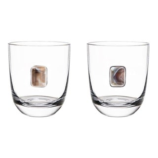 Elevo Double Old Fashioned Glasses, Crystal & Smoke Agate, Set of 2 For Sale