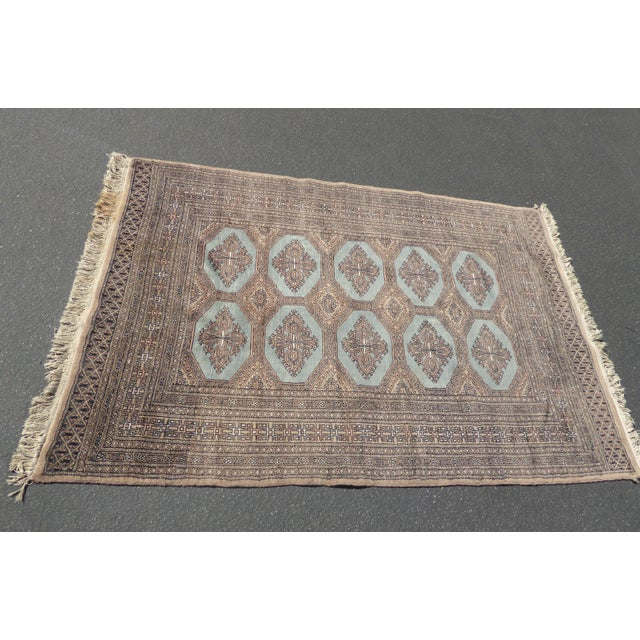 Vintage Mid-Century Handwoven Wool Pakistan Bokhara Area Rug - 4′3″ × 6′7″ For Sale - Image 4 of 12