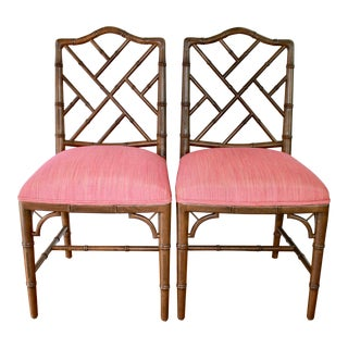 Chinese Chippendale Faux Bamboo Wood Side Chairs C. 1970 by Century Furniture - a Pair