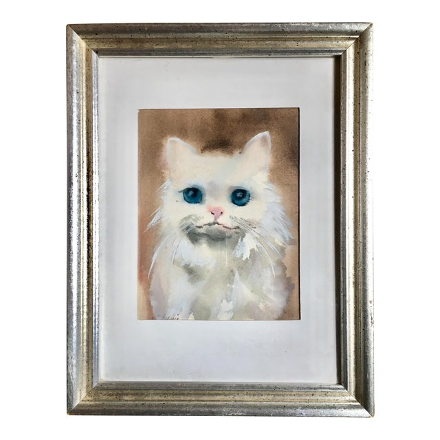 Blue Eyed Cat Watercolor Painting For Sale