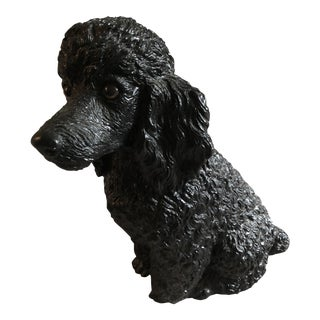 Mid 20th Century Black Poodle Statue For Sale