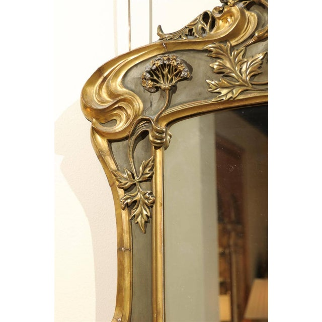Giltwood Art Nouveau Style Gold & Taupe Mirror For Sale - Image 7 of 11