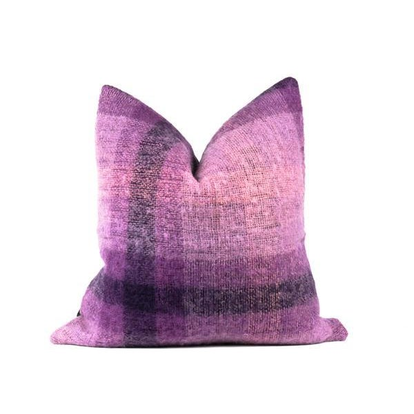 """Black Purple Plaid Mohair Wool Pillow 22"""" X 22"""" For Sale - Image 8 of 8"""