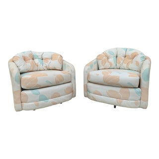 Mid-Century Modern Floral Swivel Chairs For Sale