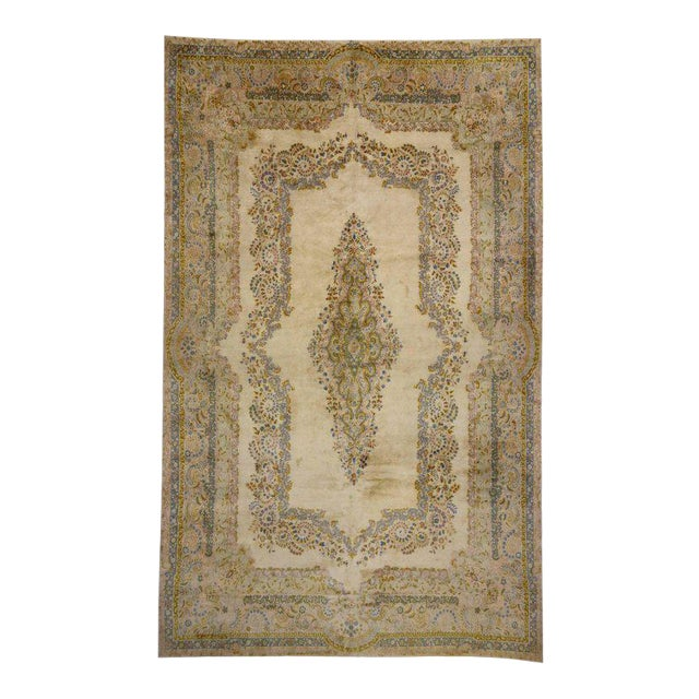 Antique Persian Kerman Rug with Traditional Style in Light Colors For Sale