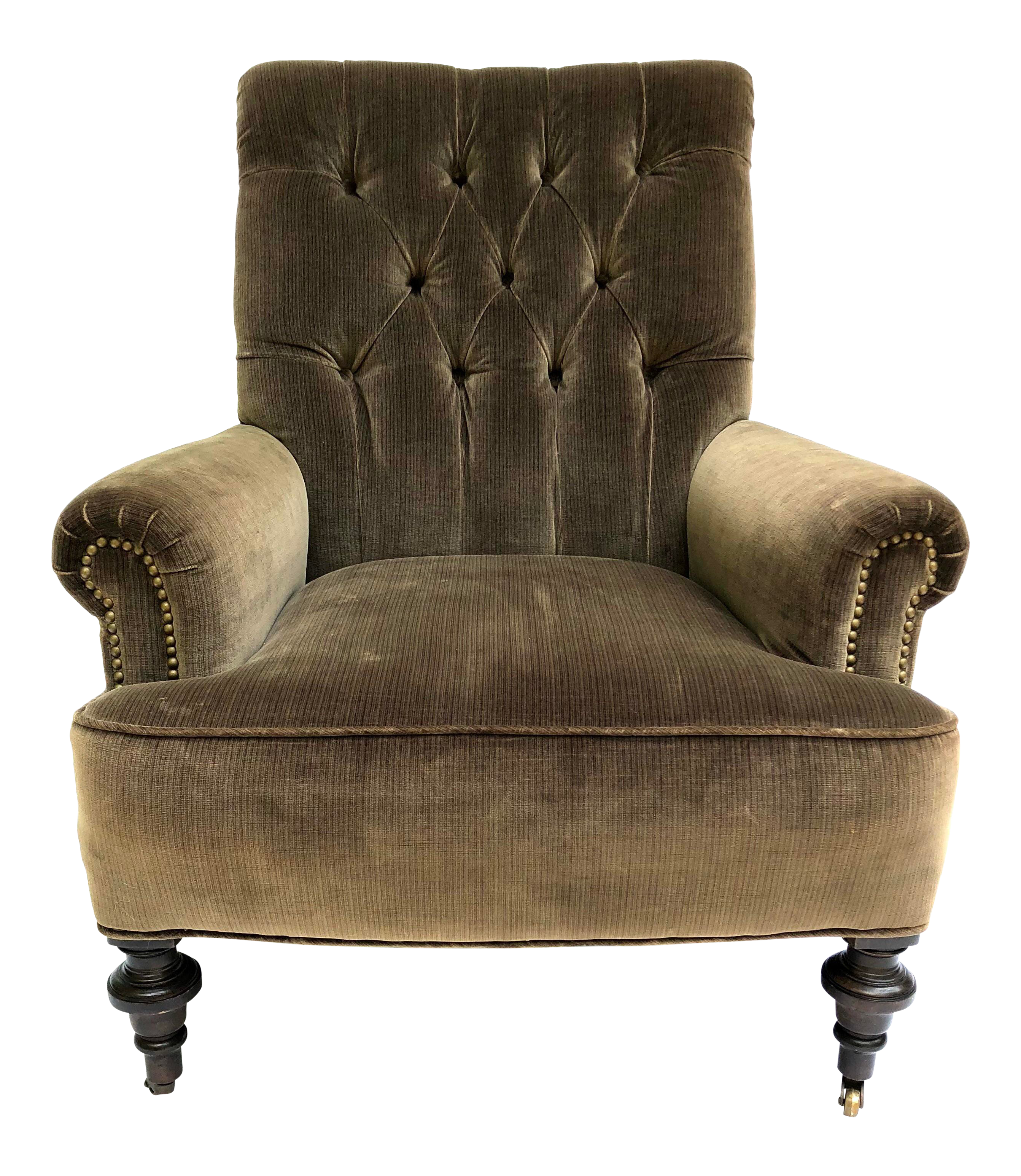 20th Century English Traditional Mossy Velvet Tufted Library Armchair