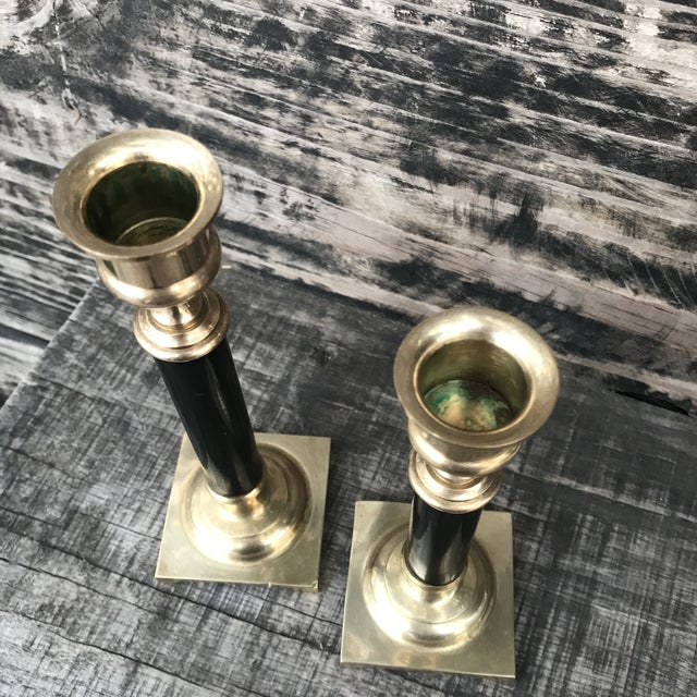 Vintage Brass and Black Candlesticks - a Pair For Sale - Image 4 of 9