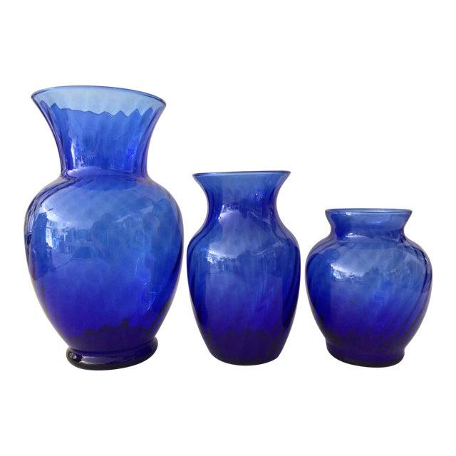 Vintage Anchor Hocking Cobalt Optic Glass Vases - Set of 3 For Sale