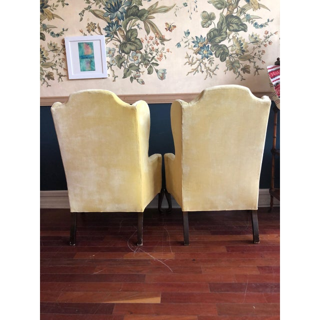 Yellow Vintage Drexel Yellow Wingback Chairs- Pair For Sale - Image 8 of 13