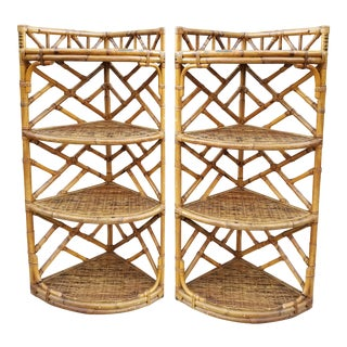 Vintage Chippendale Style Bamboo Corner Shelves-Pair For Sale