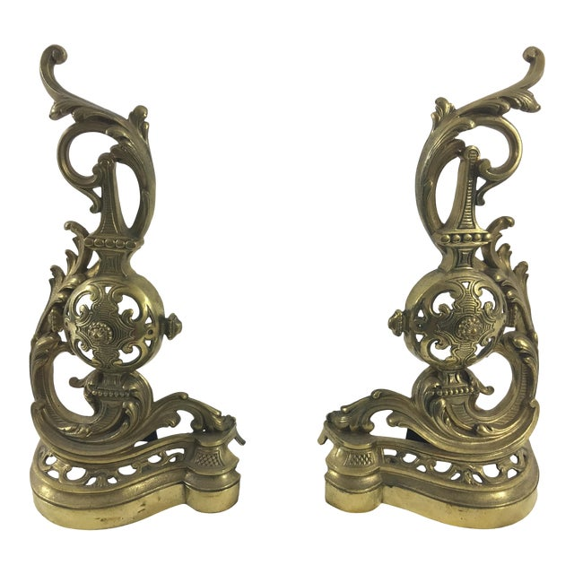 19th Century French Napoleon III Bronze Andirons - a Pair For Sale