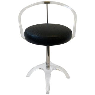 Polish Nickel and Lucite Swivel Vanity Stool by Charles Hollis Jones For Sale