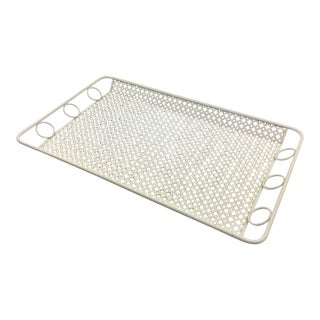 Mathieu Mategot Style Perforated White Metal Barware Serving Tray For Sale
