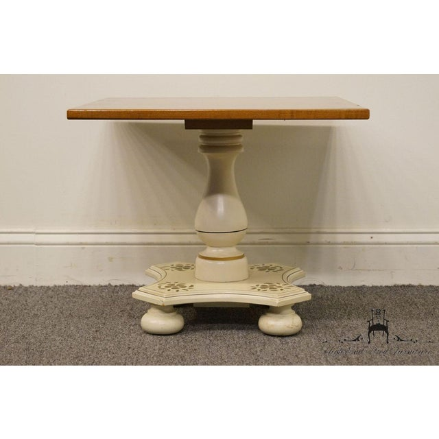 """Late 20th Century Ethan Allen Hitchcock Style White Stenciled 20"""" End / Accent Table For Sale - Image 5 of 13"""