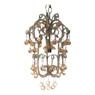 French Triple Beaded Pink Murano Balls Chandelier For Sale