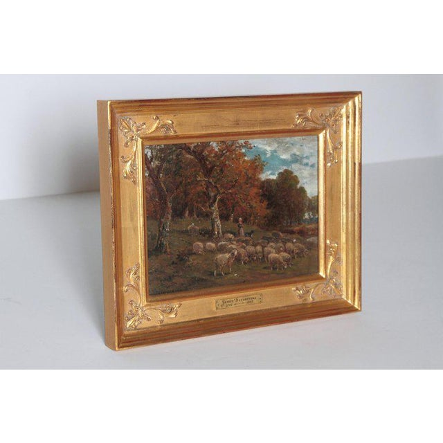 Realism 19th Century Oil Painting of Sheep Signed James Desvarreux For Sale - Image 3 of 13