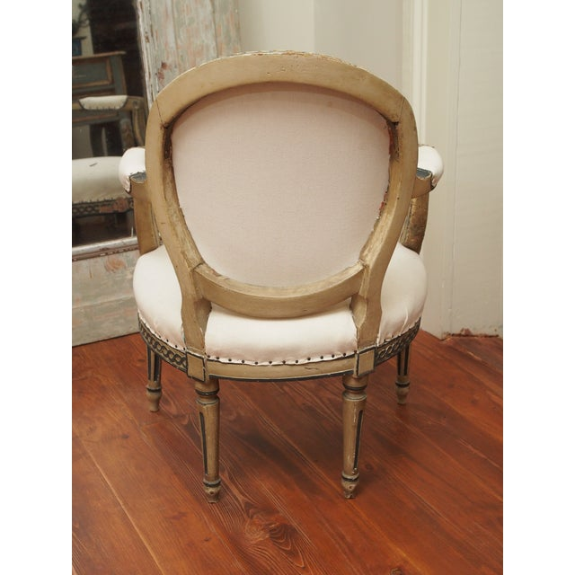 PAIR OF LOUIS XVI PAINTED FAUTEUILS For Sale - Image 11 of 11