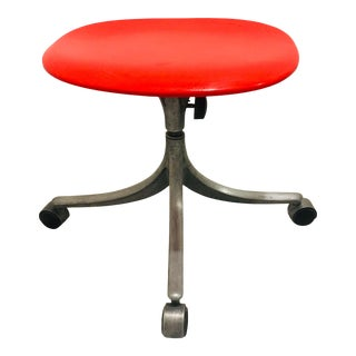 1960s Vintage Jorgen Rasmussen Office Chair Drafting Stool Knoll Fritz Hansen For Sale