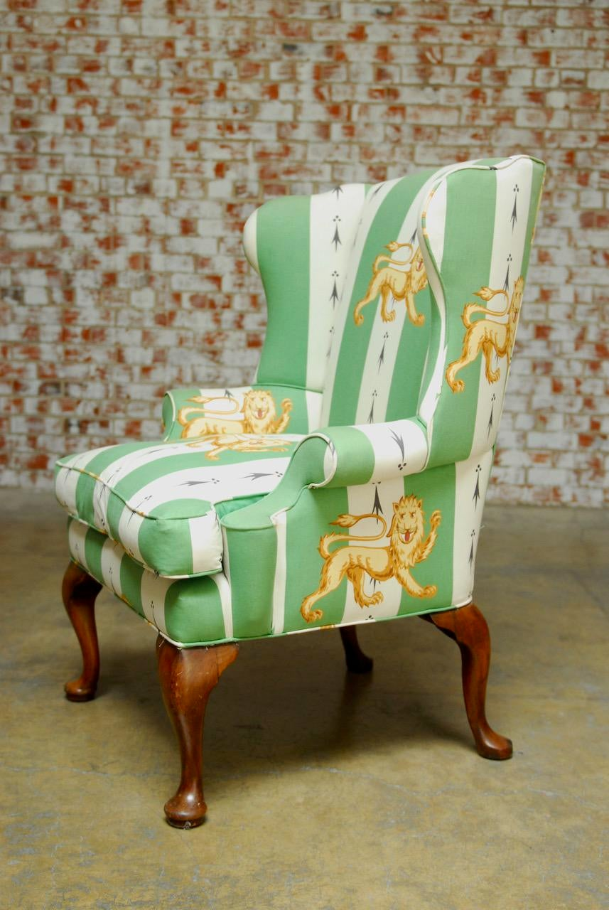Lions Of England Green And White Stripe Wingback Chair   Image 5 Of 10