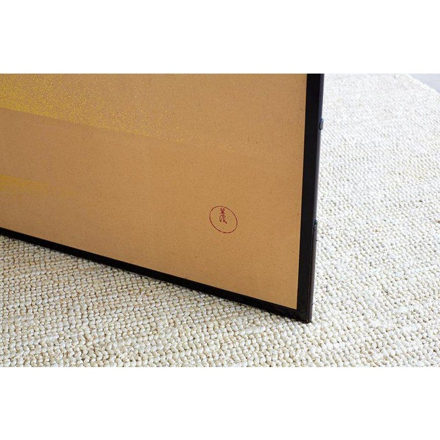 Brass Japanese Two-Panel Gold Leaf Screen by Yoshikawa For Sale - Image 7 of 13