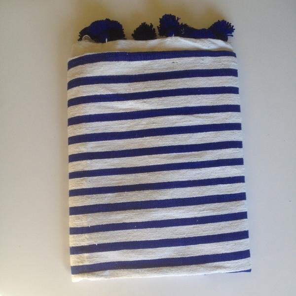 Navy Striped Moroccan Blanket with Tassels - Image 2 of 3