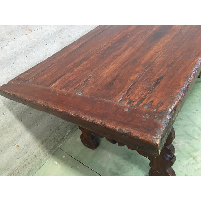 Brown Early 19th Century French Baroque Style Walnut Trestle Dining Farm Table For Sale - Image 8 of 11