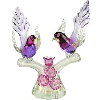 Barbini Murano Sommerso Purple Gold Flecks Italian Art Glass Birds Sculpture For Sale