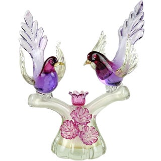Barbini Murano Vintage Sommerso Purple Gold Flecks Italian Art Glass Mid Century Birds Sculpture For Sale