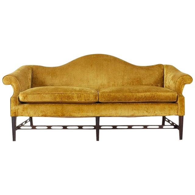 Chinese Chippendale Style Citron Velvet Camel Back Sofa For Sale