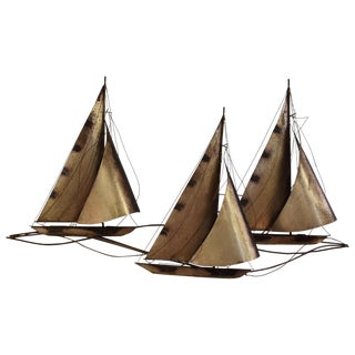 Curtis Jere Sailboat Wall Hanging Sculpture For Sale