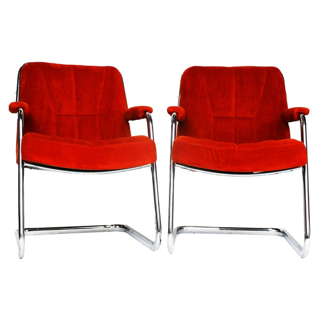 Pair Chrome Milo Baughman-Style Chairs - Image 2 of 10