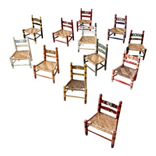 Vintage Mexican Folk Art Children's Chair Collection - Set of 12 For Sale