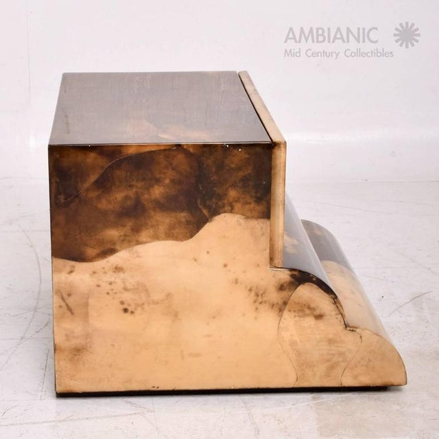 Rustic Goatskin Bed Side Table For Sale - Image 3 of 8